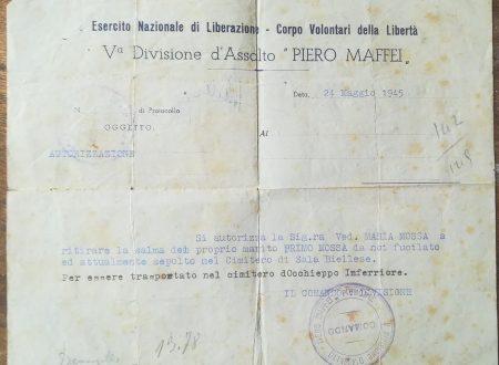 """Il funerale di Primo Mossa ……. """"non concesso"""" dall'ANPI."""